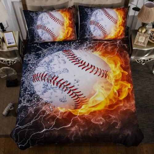 Fire Sport Duvet Cover Pillow Case Twin Full Queen King Bedding Set Baseball New
