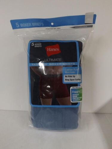 """36-38/"""" Hanes Ultimate Men/'s 5-Pack Boxer Brief-76925A-Assorted Blue-Large -NEW"""