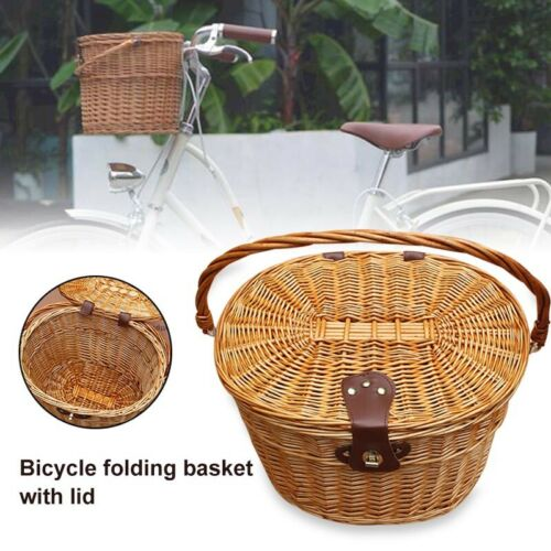 Wicker Weaving Bicycle Front Storage Basket Storage with Folding Lid