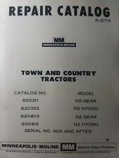 Minneapolis Moline Town Country Garden Tractor Parts Manual Gear Amp Hydro 110 112