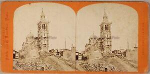 Marsiglia Notre-Dame Da La Garde Francia Foto Stereo PL55 Vintage Albumina c1870