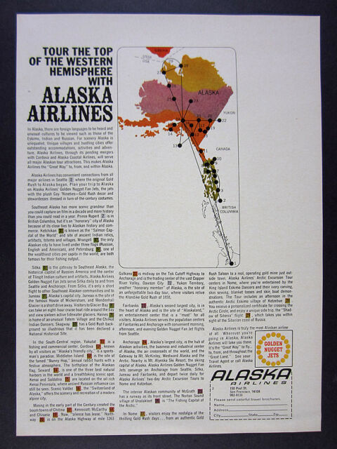 1968 Alaska Airlines 29 destinations from seattle route map vintage ...