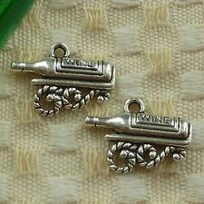 free ship 78 pieces tibetan silver WINE charms 19x14mm #4035
