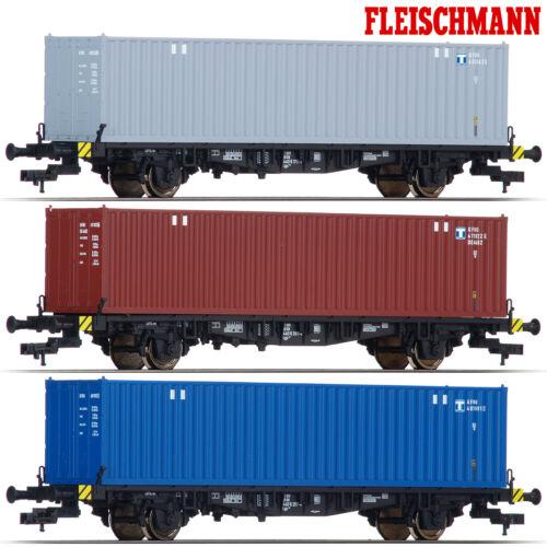 NEU Fleischmann 631781-S3 H0 Container-Tragwagen der DB 3er-Set +