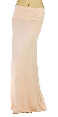 New Peach Women Solid Fold Over Waist Soft Rayon Long Maxi Skirt Reg Plus USA