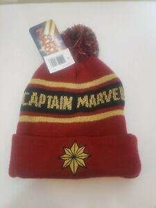 Captain Marvel Weave Knit Unisex Beanie Red Winter Pom Pom
