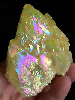 2.2lb purple/&yellow Aura Quartz Crystal Titanium Bismuth Silicon WAND Rainbow