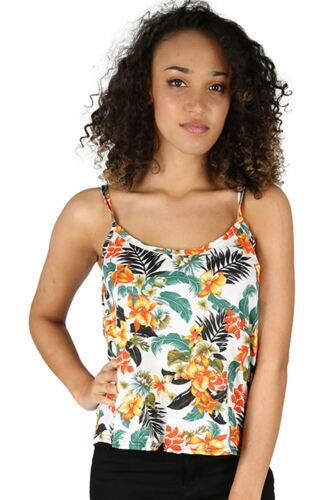 Ladies Womens Printed Thin Cami Swing Strappy Flared Floral Vest Top Plus Size