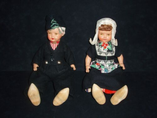 PAIR OF VINTAGE DUTCH BISQUE DOLLS