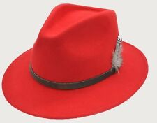 1088b377fba iHATSLondon Unisex Fedora Hat Long Brim Supreme Quality Felt Indiana Jones ( UK)