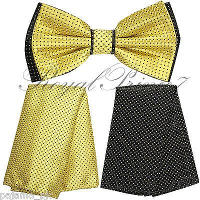 Checker Two Tone Design Men Bowtie or With Hankie Set Cream Brown Dot BT2T101-I