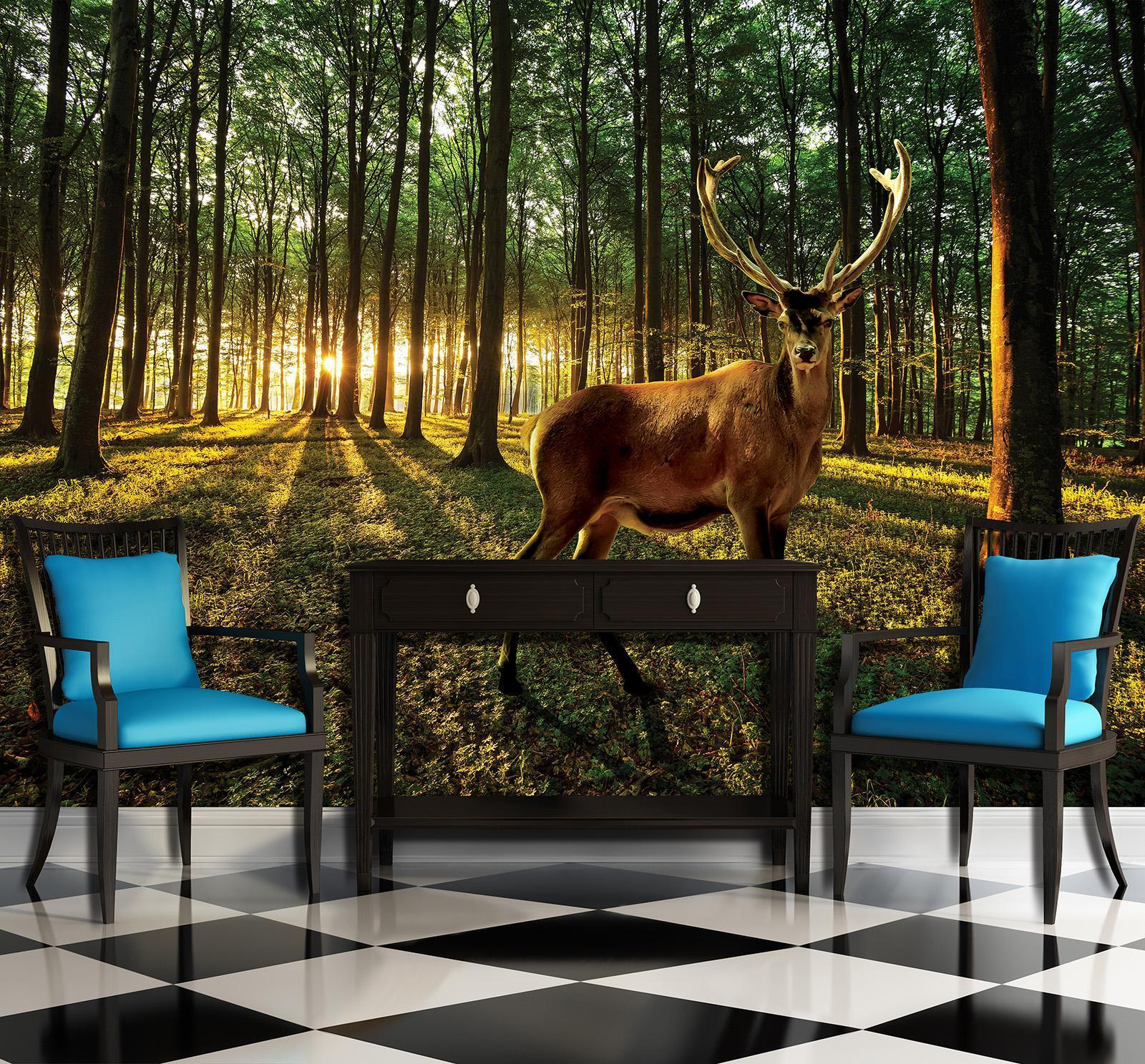 Photo Wallpaper Mural Non-woven 20282_VEN Deer in Sunny Forest  Forest Deer Anim