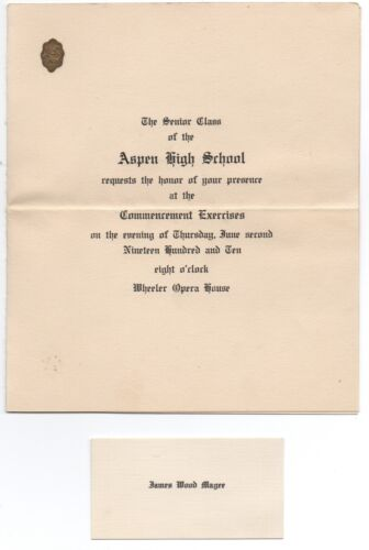 1910 Aspen CO High School Commencement Invitation