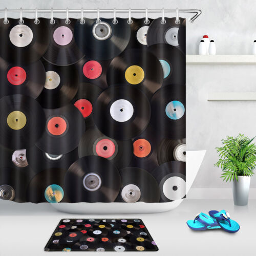 Old Vinyl Records Collection Shower Curtain Set Bathroom Waterproof Fabric Hooks