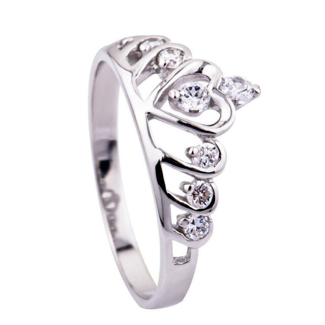925 Sterling Silver Solid Cubic Zirconia Pave Princess Queen/Crown Ring All Size