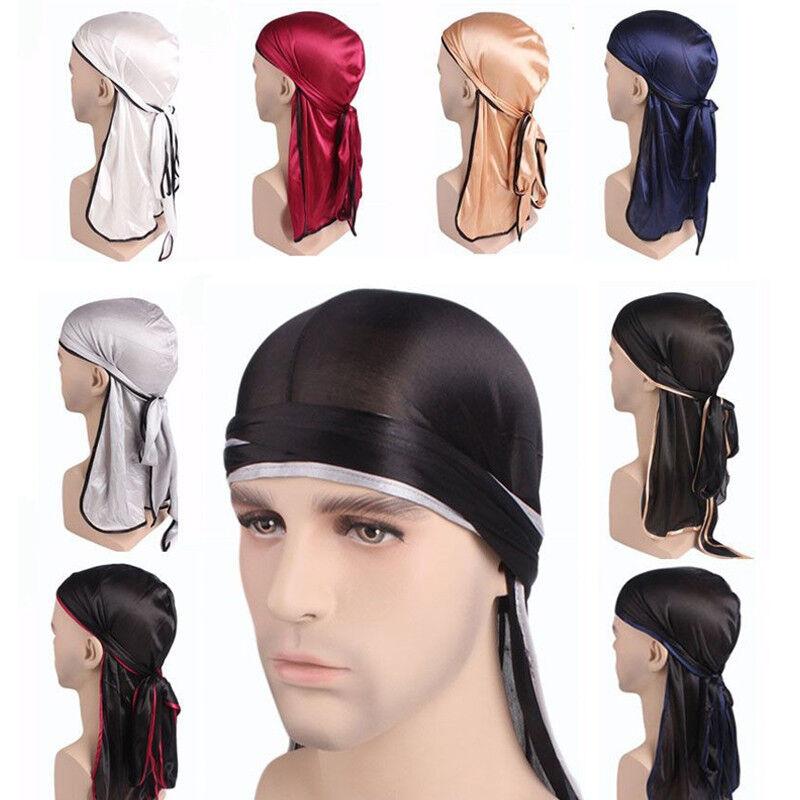 Men Hat Bandana Durag Do Rag Headwear Tail Soft Silk Cap Wrap Casual Headwrap Clothing, Shoes & Accessories
