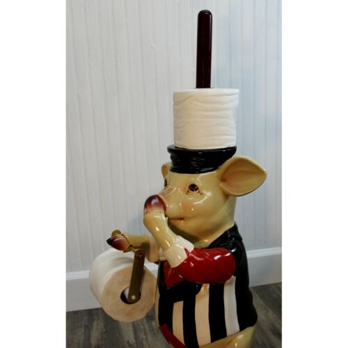 Pig Holding Nose Toilet Paper Holder and Extra Roll Cute Fun Bathroom Statue
