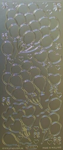 Party Balloons Hearts Bows Celebration PEEL OFF STICKERS Cardmaking Sticker