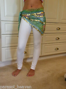 WHITE-STRETCH-LEGGINGS-size-Medium-BELLY-DANCE-Elastic-Waist-NEW-Cotton