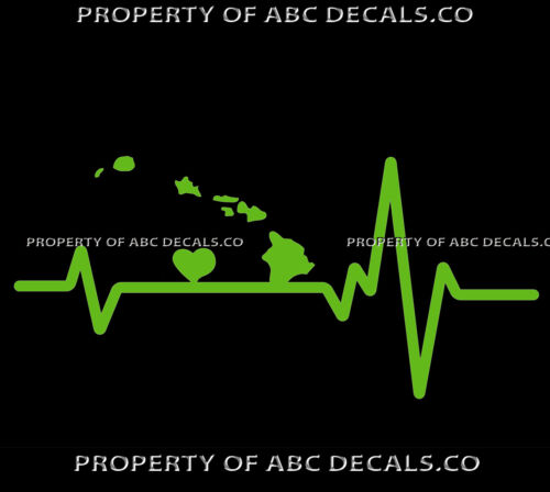 VRS HEART BEAT LINE STATE HAWAII Kauai Oahu Maui Lanai Molokai CAR VINYL DECAL
