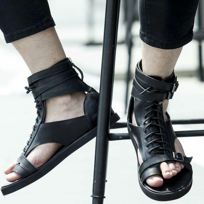 Para Hombre Gladiador Alta Top Cuero Con Cordones Zapatos Sandalias Ojotas Romano Vict