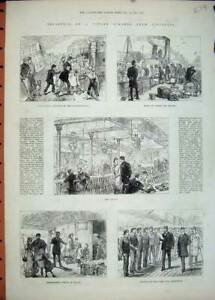 Old-Antique-Print-1881-Cunard-Steam-Ship-Liverpool-Passengers-Saloon-Crew-19th