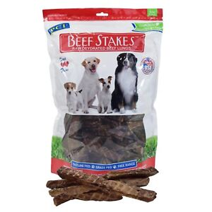 Pet Center Premium Beef Stakes Natural USA Dried Lung Steaks Dog Treats - 8oz