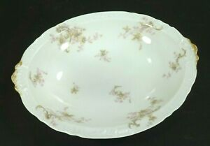 Theo-Haviland-Limoges-Open-Oval-Vegetable-Bowl-Scalloped-Pink-Flowers-Gold-Edge