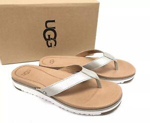 aa01ef4554f Details about UGG Australia Lorrie Metallic Leather Sandals 1019864 Silver  Flip Flops Thongs