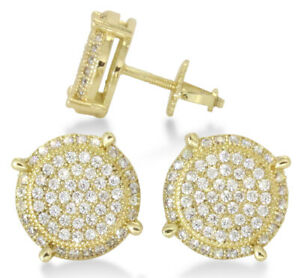 Mens-Icy-Round-14k-Gold-Plated-Cz-Hip-Hop-Screw-Back-Stud-10mm-Earrings