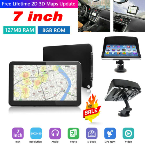 "Free World Maps Updates 7/"" 8GB Car Truck Lorry HGV LGV GPS SAT NAV Navigation"