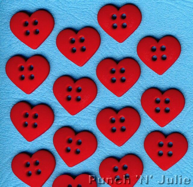 SEW CUTE RED HEARTS - Love Christmas Novelty Dress It Up Sewing Craft Buttons