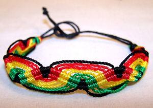 Image Is Loading Rasta Woven Cloth Bracelet Jl485 Hippie Jewelry Jamaican