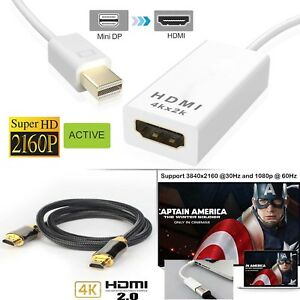 Active-Mini-DisplayPort-MDP-to-HDMI-Adapter-4K-Display-Braided-HDMI-v2-0-Cable