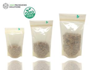 Entièrement Biodégradable Bio Stand Up Translucide Pochette Avec Zip Lock Heat Seal-afficher Le Titre D'origine