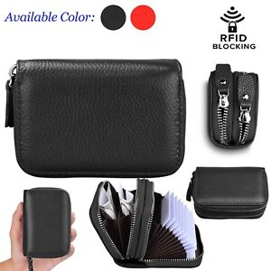 030d04340463 Details about Women's Genuine Leather RFID Blocking Mini Zipper Card Wallet  Holder Small Purs