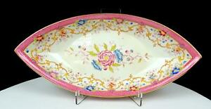 VILLEROY-amp-BOCH-GERMANY-PINK-FISH-SCALE-amp-FLORAL-10-1-2-034-CELERY-PICKLE-DISH-1887