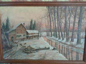 ANTIQUE-OIL-PAINTING-BY-LISTED-ATLANTIC-CITY-ARTIST-ABDEL-KADER-WELL-DONE