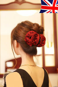 Confiant Grande Fleur Rose Pince à Cheveux Pince à Cheveux Pince Clip Bow Jaw Clip Barrette Bridal Uk-afficher Le Titre D'origine