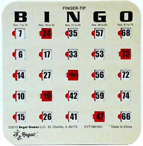 10-Pack-Reusable-Finger-tip-Shutter-Slide-Bingo-Cards-Woodgrain-Tan