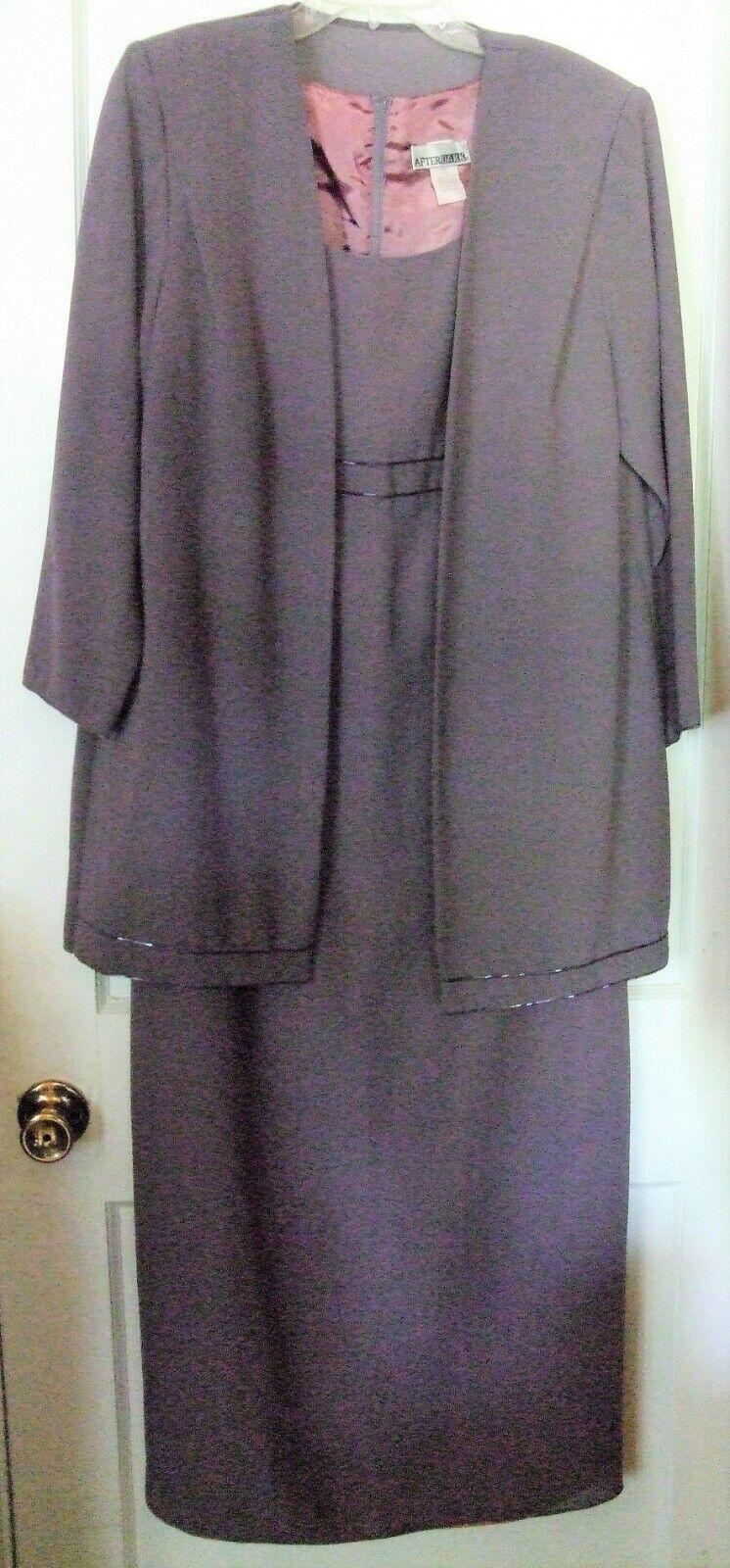 Designer - After Dark Purple Mother of Bride Floor Length Gown & Jacket, Size 14