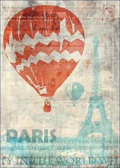 Ken Roko  Paris Travel Keilrahmen-Bild Leinwand Eiffelturm Ballonfahrt Reise