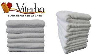 Set Asciugamani Da Bagno Viso 6 Pezzi Bianco In Spugna Cotone 100%