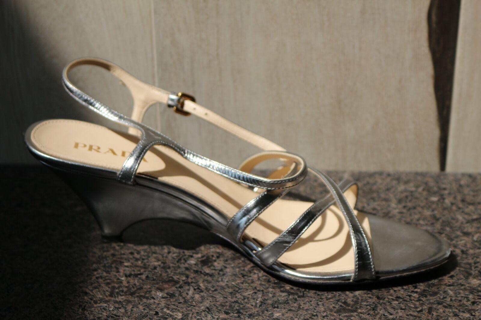 PRADA platformwedge Sandales Bout Ouvert Chaussures 39.5