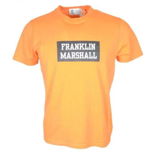 Franklin /& Marshall MF255 Cotton Round Neck Printed Logo Orange T-Shirt