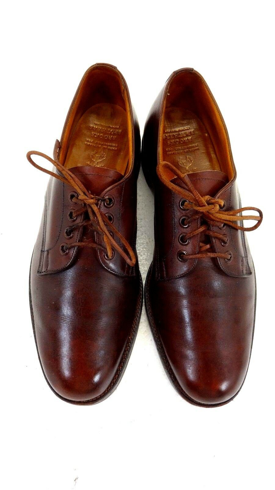BROOKS BredHERS ENGLISH MENS BROWN LEATHER LACE UP OXFORDS SIZE 8.5 B