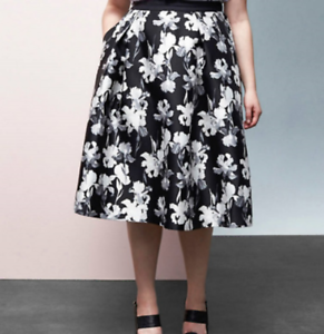 42334db0f New PRABAL GURUNG for LANE BRYANT $129 B & W Floral Circle Skirt ...