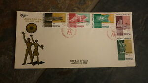 OLD-INDONESIA-STAMP-ISSUE-FDC-1962-ASIAN-GAMES-SET-OF-5-STAMPS