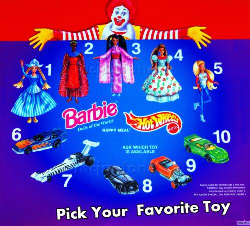 MIP McDonald/'s 1996 HOT WHEELS Mattel CAR Diecast FLAME Hot Hubs YOUR CHOICE
