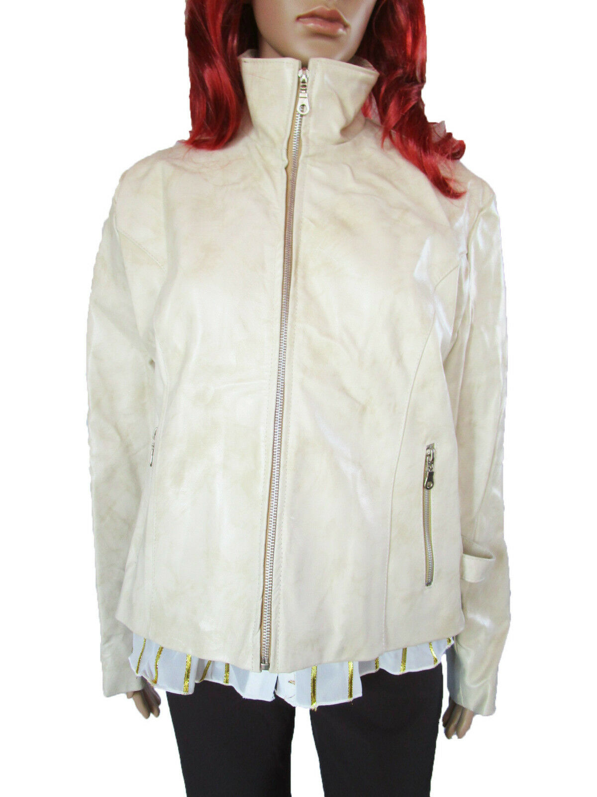 Vtg Retro 80s damänner Casual leder Made in  Ivory Zip jacke sz 2XL AP52